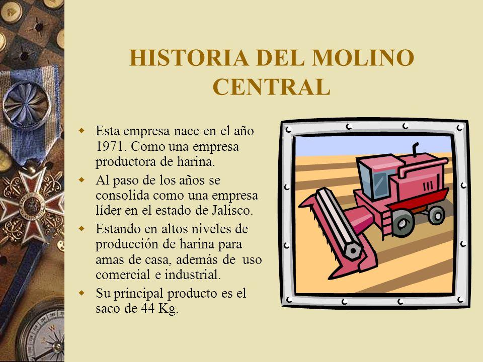 HISTORIA DEL MOLINO CENTRAL Además también cuentan con otras presentaciones en cuanto al contenido en peso, como son en costal con 10 bolsas de un Kg., a la cual bautizaron con el nombre de TAPATÍA.