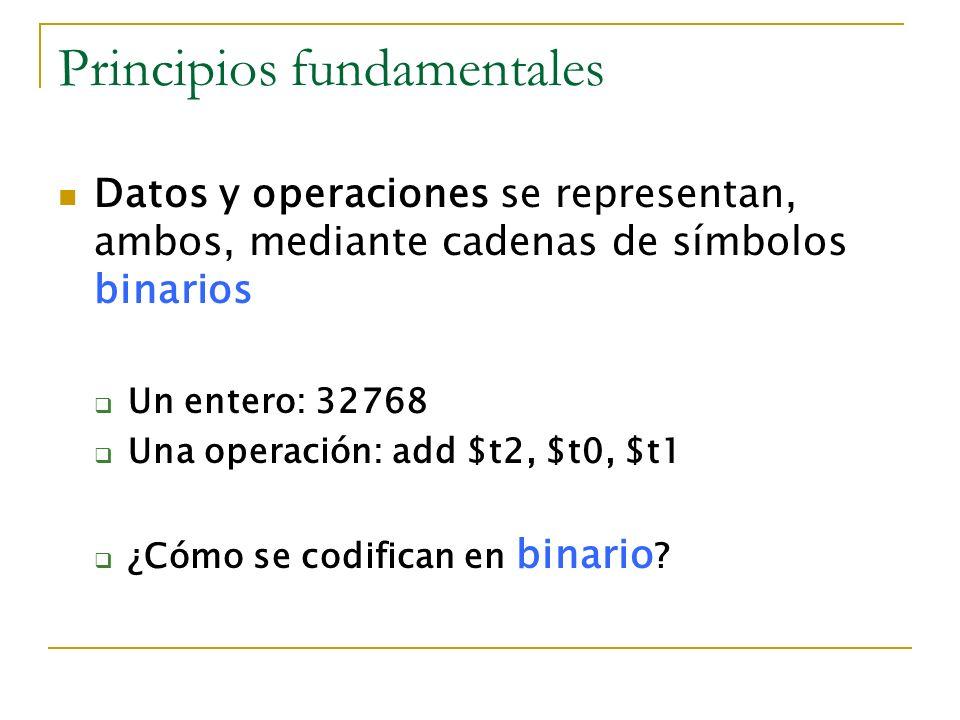 Principios fundamentales Datos y operaciones se representan, ambos, mediante cadenas de símbolos binarios Un entero: 32768 Una operación: add $t2, $t0
