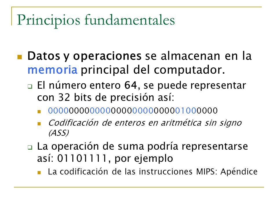 Principios fundamentales Datos y operaciones se almacenan en la memoria principal del computador. El número entero 64, se puede representar con 32 bit