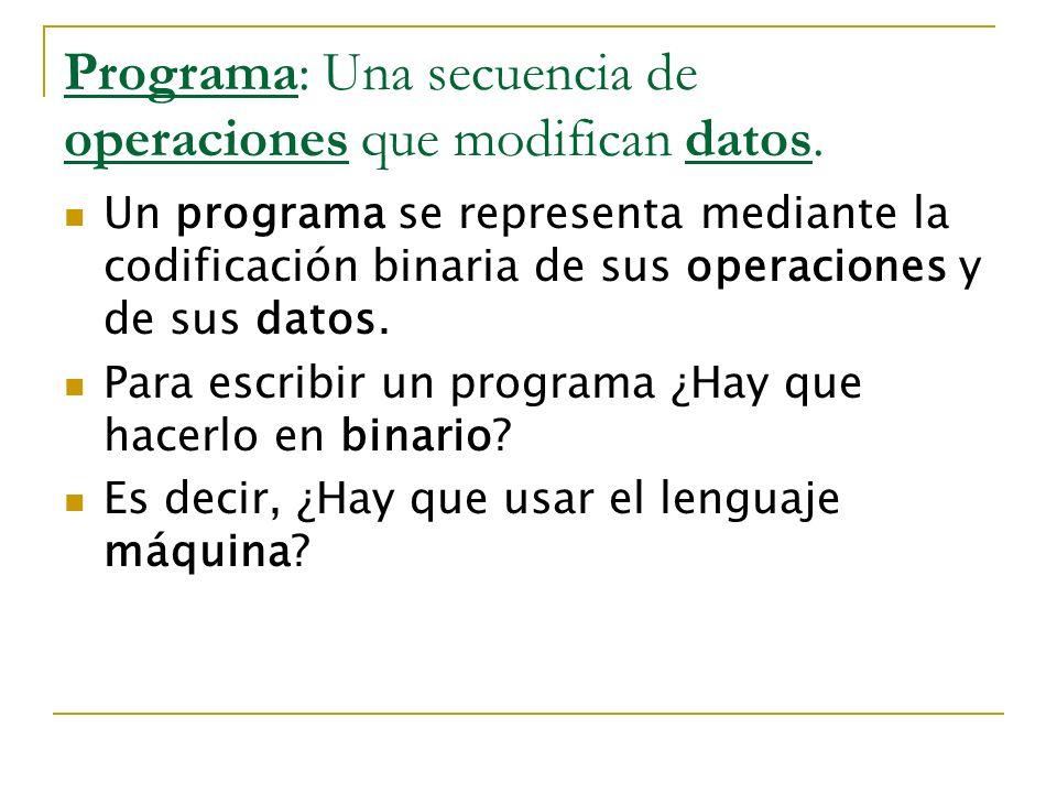 Programa: Una secuencia de operaciones que modifican datos. Un programa se representa mediante la codificación binaria de sus operaciones y de sus dat