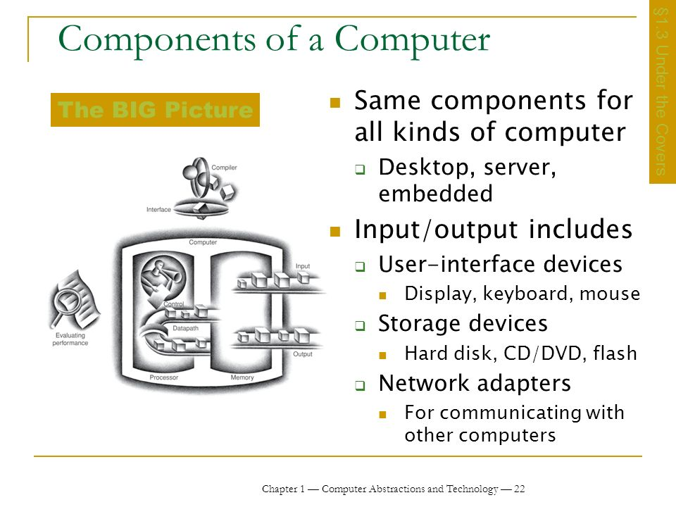 Chapter 1 Computer Abstractions and Technology 22 Components of a Computer Same components for all kinds of computer Desktop, server, embedded Input/output includes User-interface devices Display, keyboard, mouse Storage devices Hard disk, CD/DVD, flash Network adapters For communicating with other computers §1.3 Under the Covers The BIG Picture