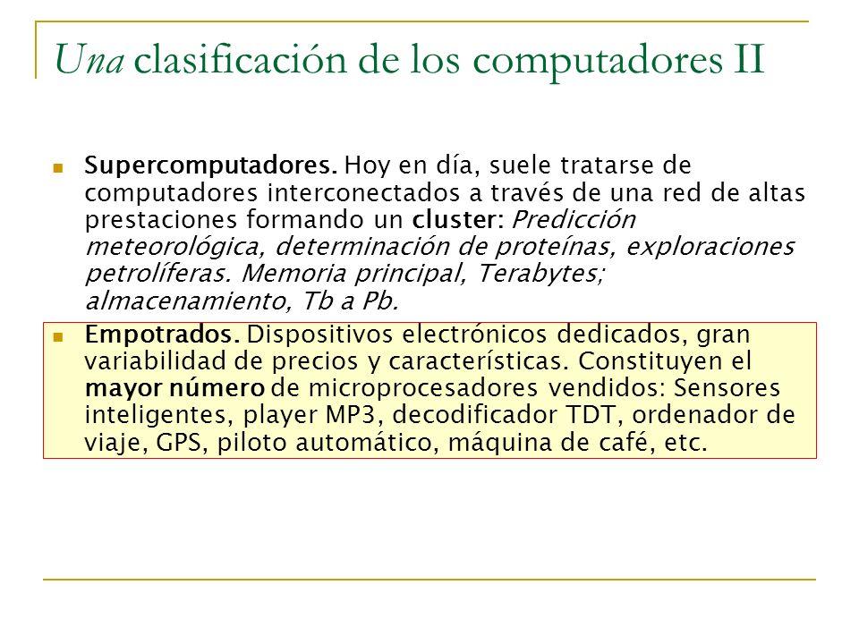 Una clasificación de los computadores II Supercomputadores. Hoy en día, suele tratarse de computadores interconectados a través de una red de altas pr