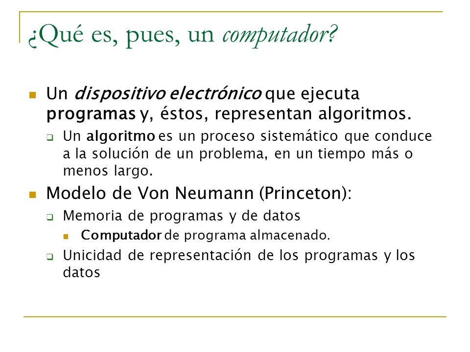 ¿Qué es, pues, un computador? Un dispositivo electrónico que ejecuta programas y, éstos, representan algoritmos. Un algoritmo es un proceso sistemátic