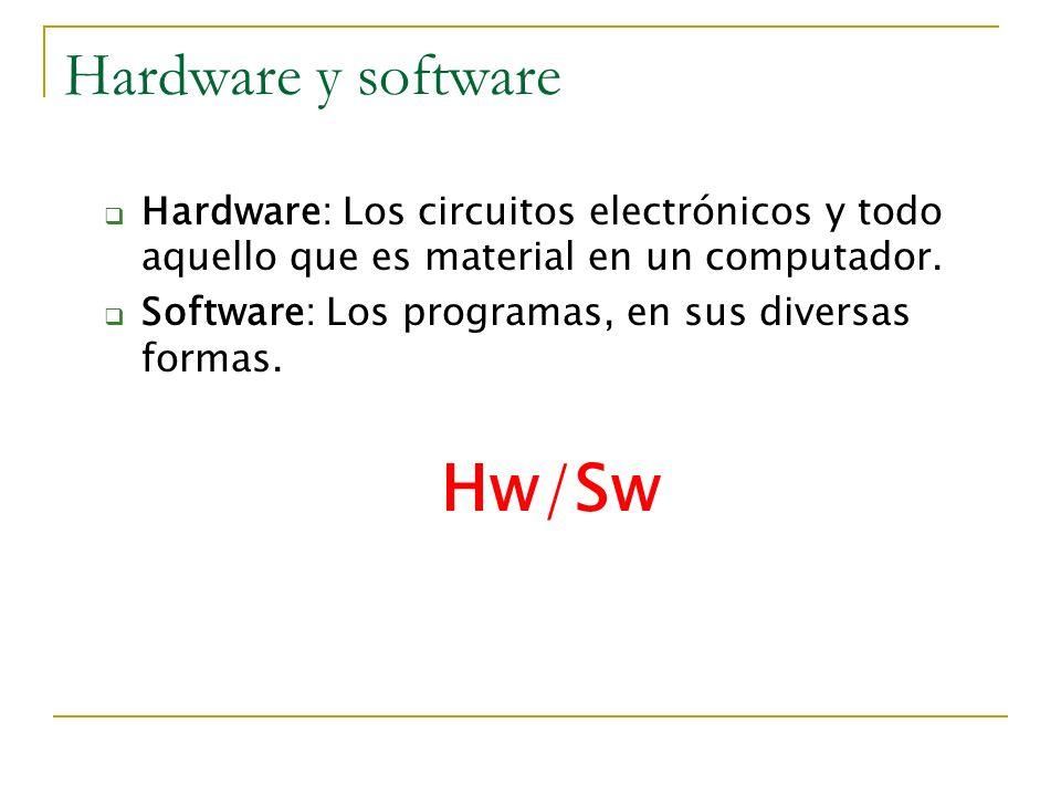 Hardware y software Hardware: Los circuitos electrónicos y todo aquello que es material en un computador. Software: Los programas, en sus diversas for