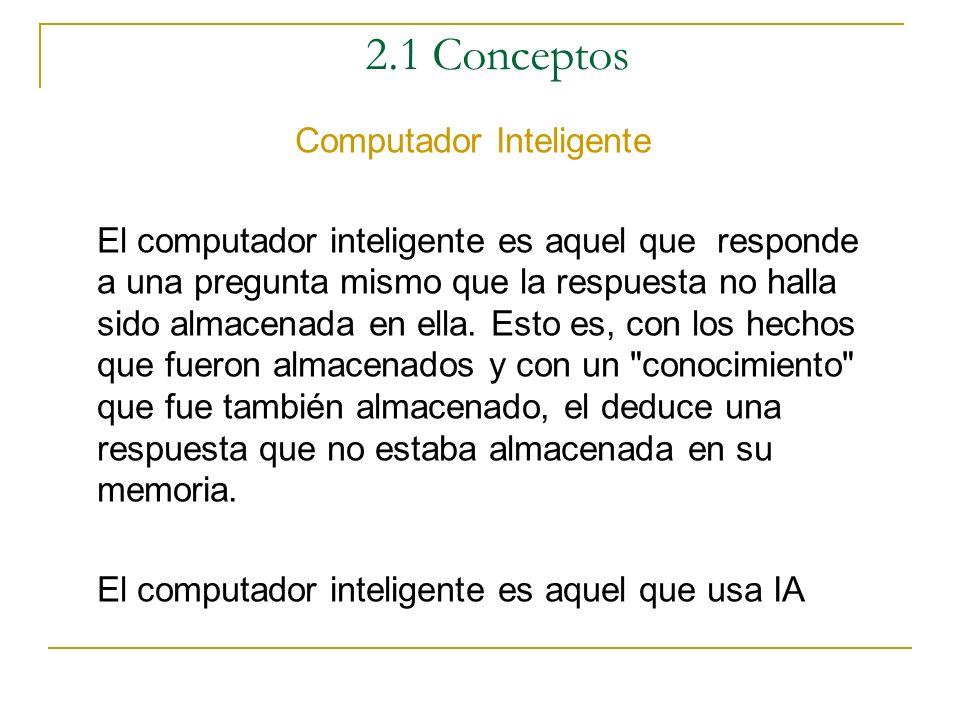 2.1 Conceptos Objetivos de la Inteligencia Artificial Objetivo de la Ciencia: Comprender que es inteligencia y explicar los diversos tipos de intelige