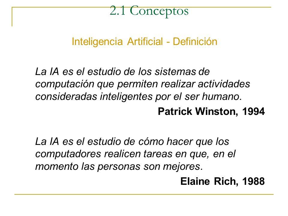2.1 Conceptos Inteligencia Artificial - Ciencia La I.A. es una rama de la ciencia de la computación que estudia los fundamentos teóricos y prácticos d
