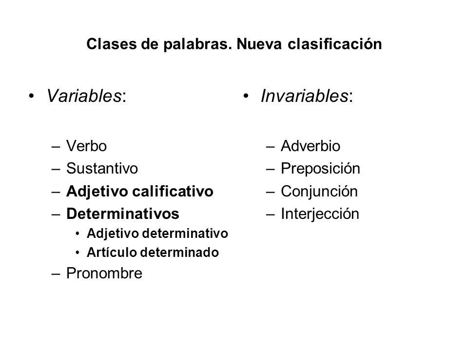 Clases de palabras. Nueva clasificación Variables: –Verbo –Sustantivo –Adjetivo calificativo –Determinativos Adjetivo determinativo Artículo determina