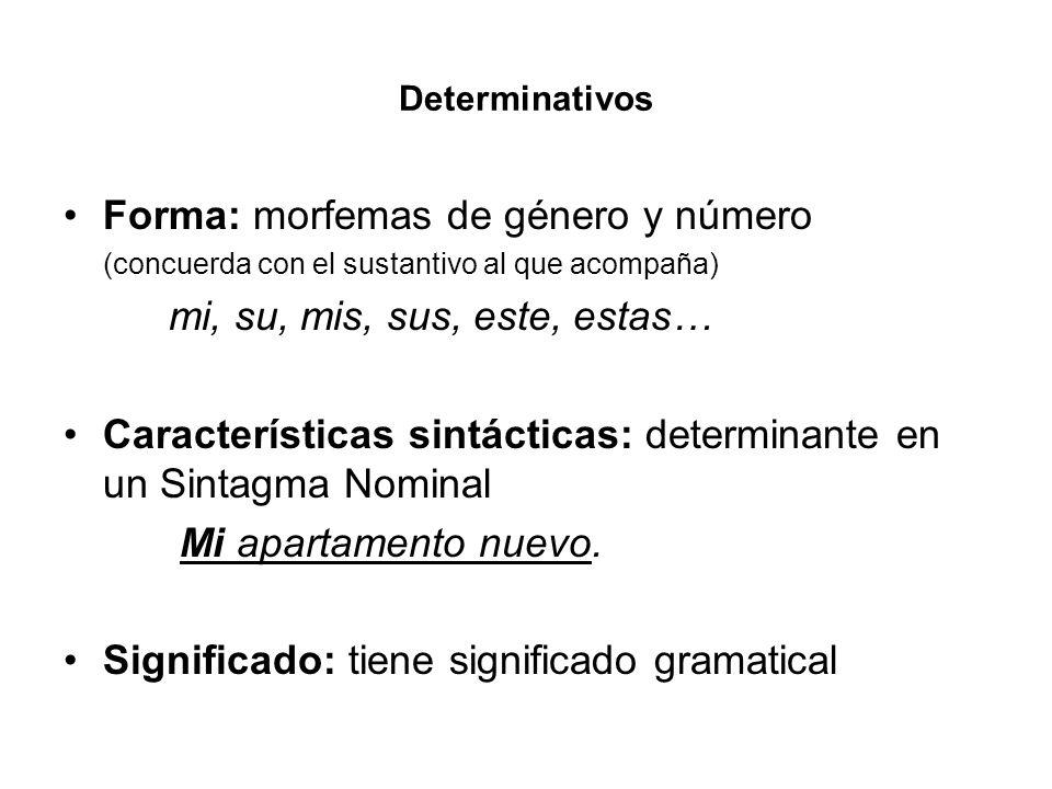 Determinativos Forma: morfemas de género y número (concuerda con el sustantivo al que acompaña) mi, su, mis, sus, este, estas… Características sintáct