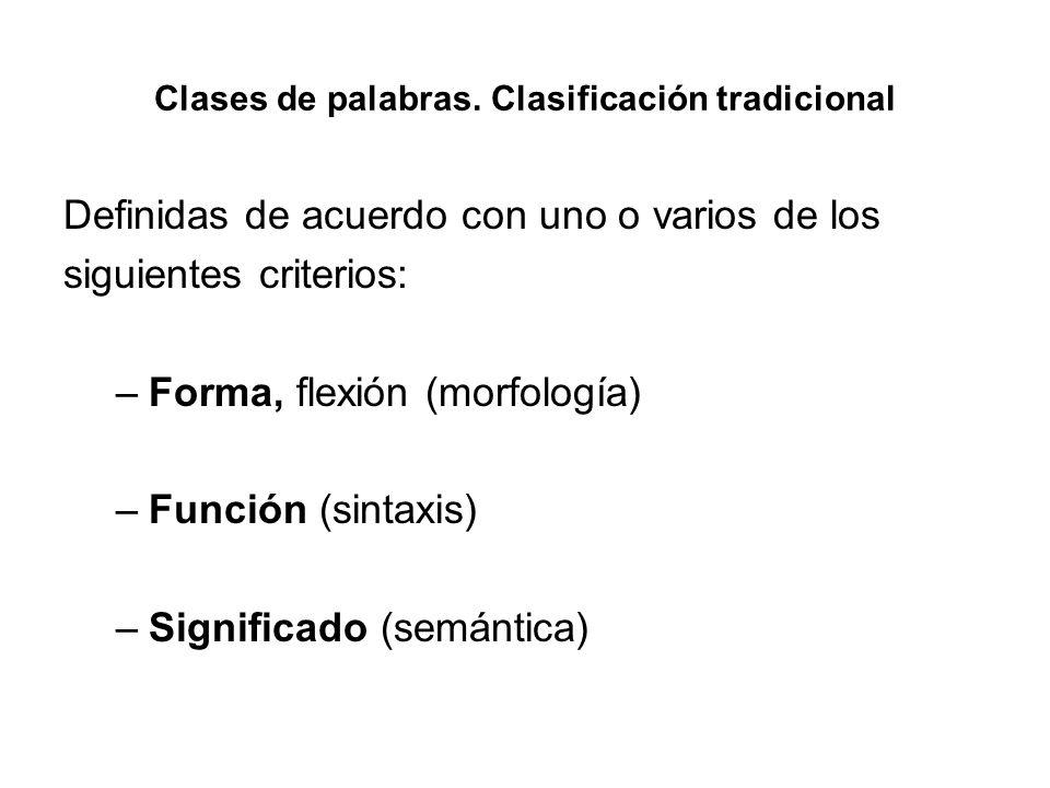Clases de palabras. Clasificación tradicional Definidas de acuerdo con uno o varios de los siguientes criterios: –Forma, flexión (morfología) –Función