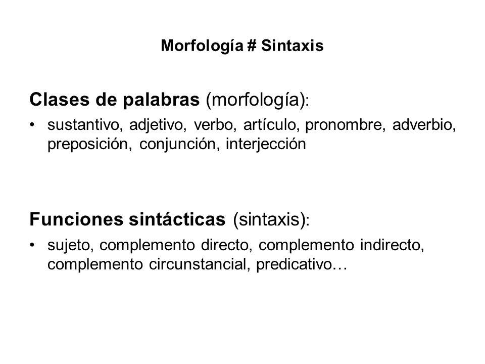 Morfología # Sintaxis Clases de palabras (morfología) : sustantivo, adjetivo, verbo, artículo, pronombre, adverbio, preposición, conjunción, interjecc