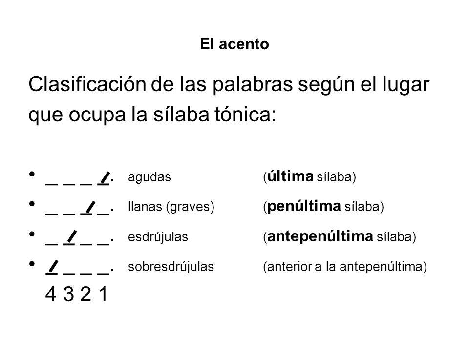 El acento Clasificación de las palabras según el lugar que ocupa la sílaba tónica: _ _ _ _. agudas ( última sílaba) _ _ _ _. llanas (graves)( penúltim