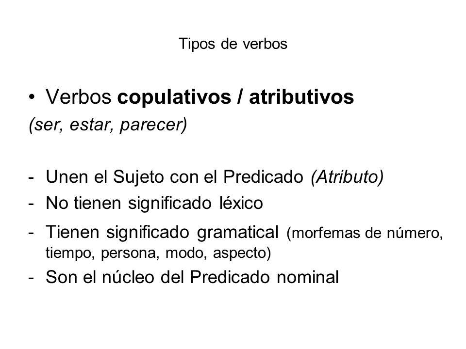 Tipos de verbos Verbos copulativos / atributivos (ser, estar, parecer) -Unen el Sujeto con el Predicado (Atributo) -No tienen significado léxico -Tien