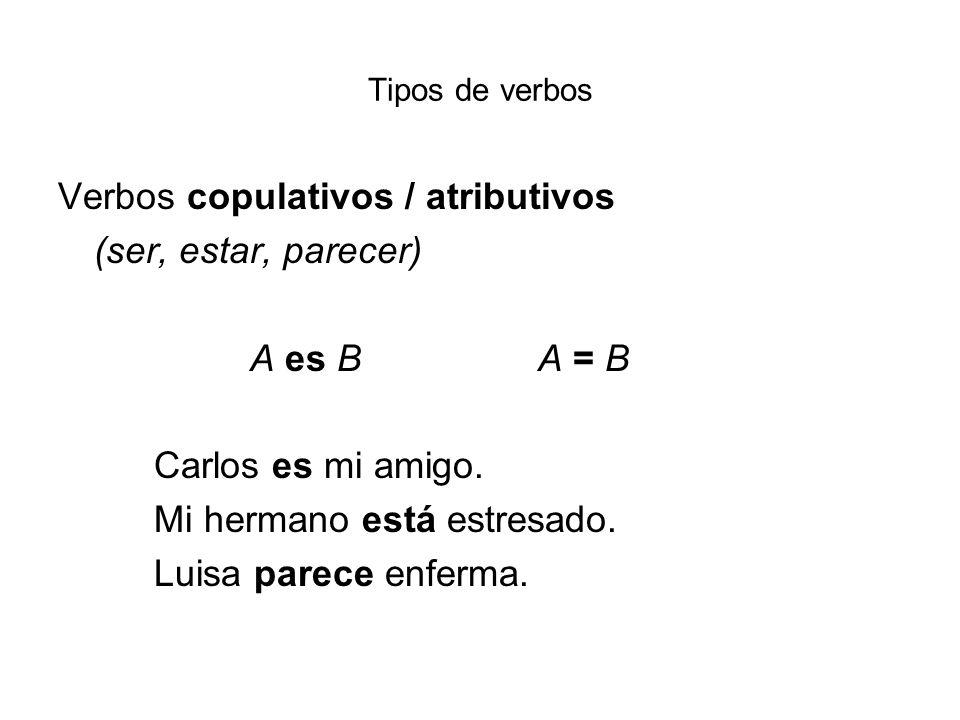 Tipos de verbos Verbos copulativos / atributivos (ser, estar, parecer) A es BA = B Carlos es mi amigo. Mi hermano está estresado. Luisa parece enferma