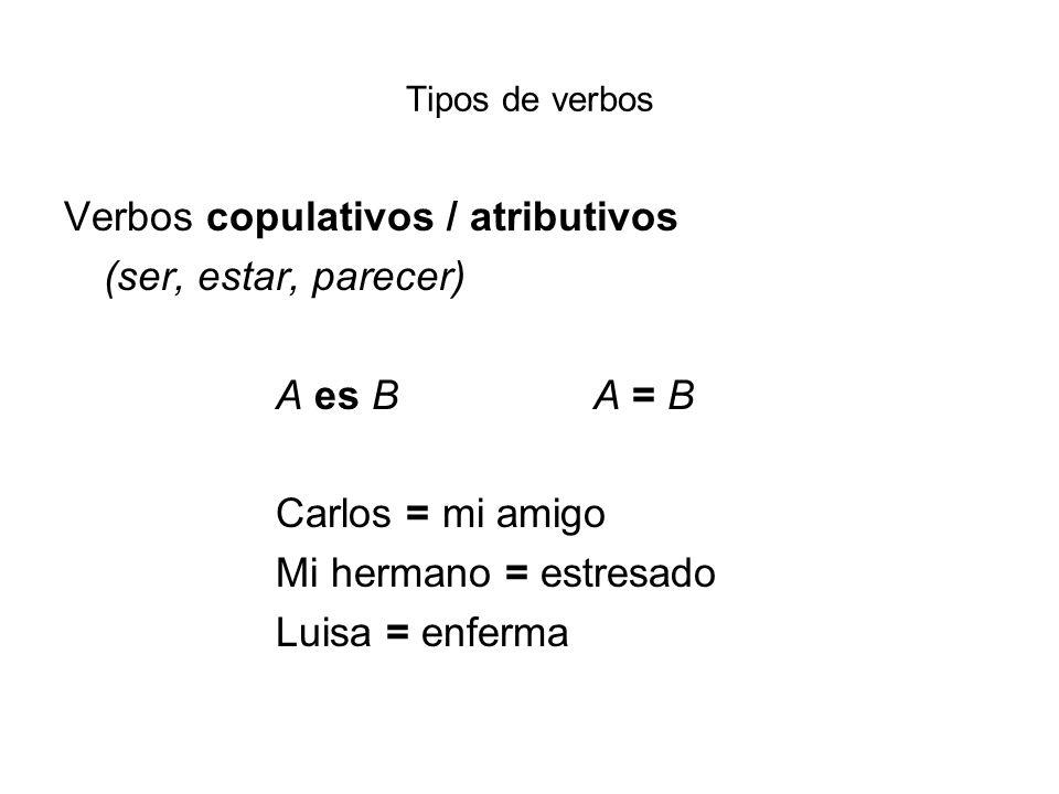 Tipos de verbos Verbos copulativos / atributivos (ser, estar, parecer) A es BA = B Carlos = mi amigo Mi hermano = estresado Luisa = enferma