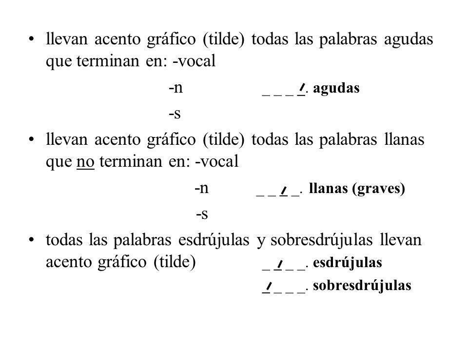 llevan acento gráfico (tilde) todas las palabras agudas que terminan en: -vocal -n _ _ _ _. agudas -s llevan acento gráfico (tilde) todas las palabras