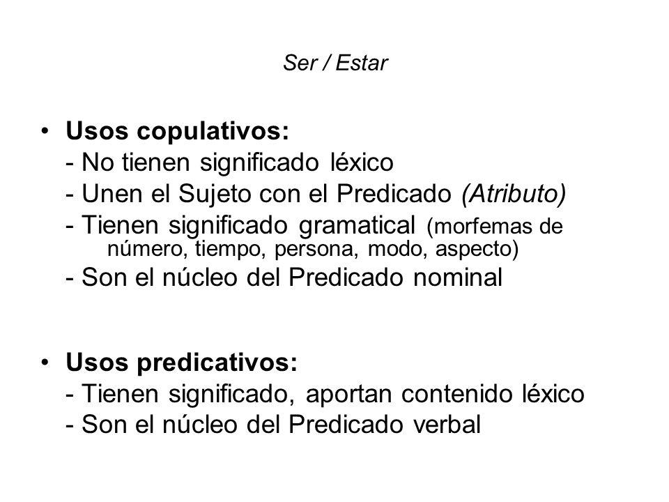 Ser / Estar Usos copulativos: - No tienen significado léxico - Unen el Sujeto con el Predicado (Atributo) - Tienen significado gramatical (morfemas de