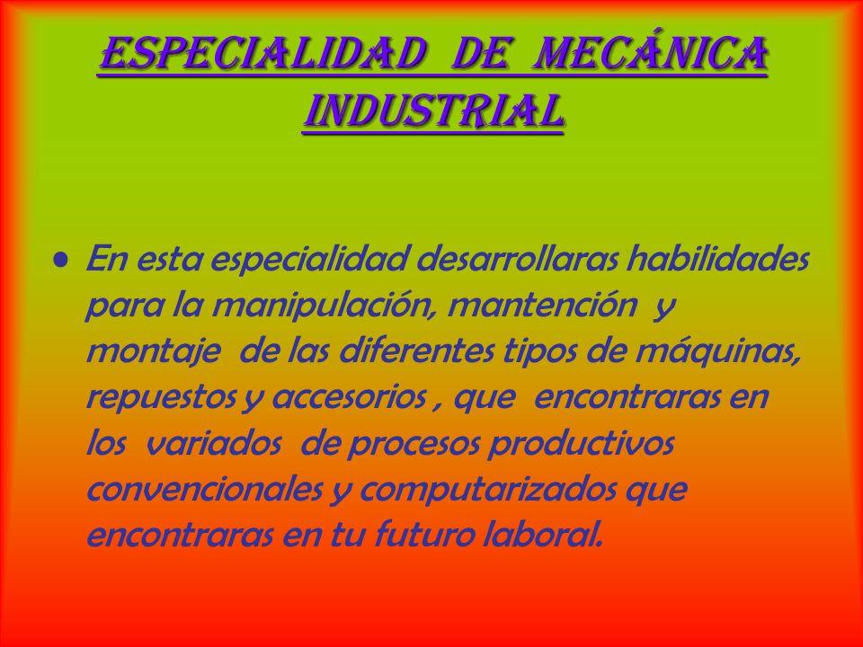 Charla inductiva al estudiante de 1º año en mecánica industrial Se muestran talleres y faenas del estudiante de la especialidad de mecánica industrial