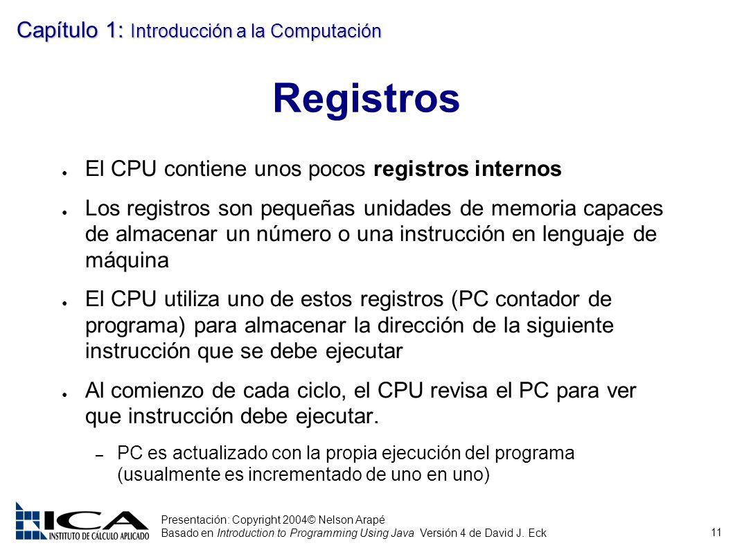 11 Presentación: Copyright 2004© Nelson Arapé Basado en Introduction to Programming Using Java Versión 4 de David J. Eck Capítulo 1: Introducción a la
