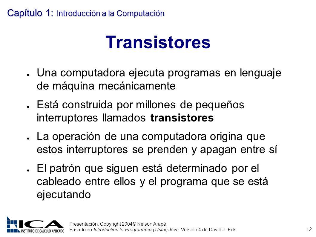 12 Presentación: Copyright 2004© Nelson Arapé Basado en Introduction to Programming Using Java Versión 4 de David J. Eck Capítulo 1: Introducción a la