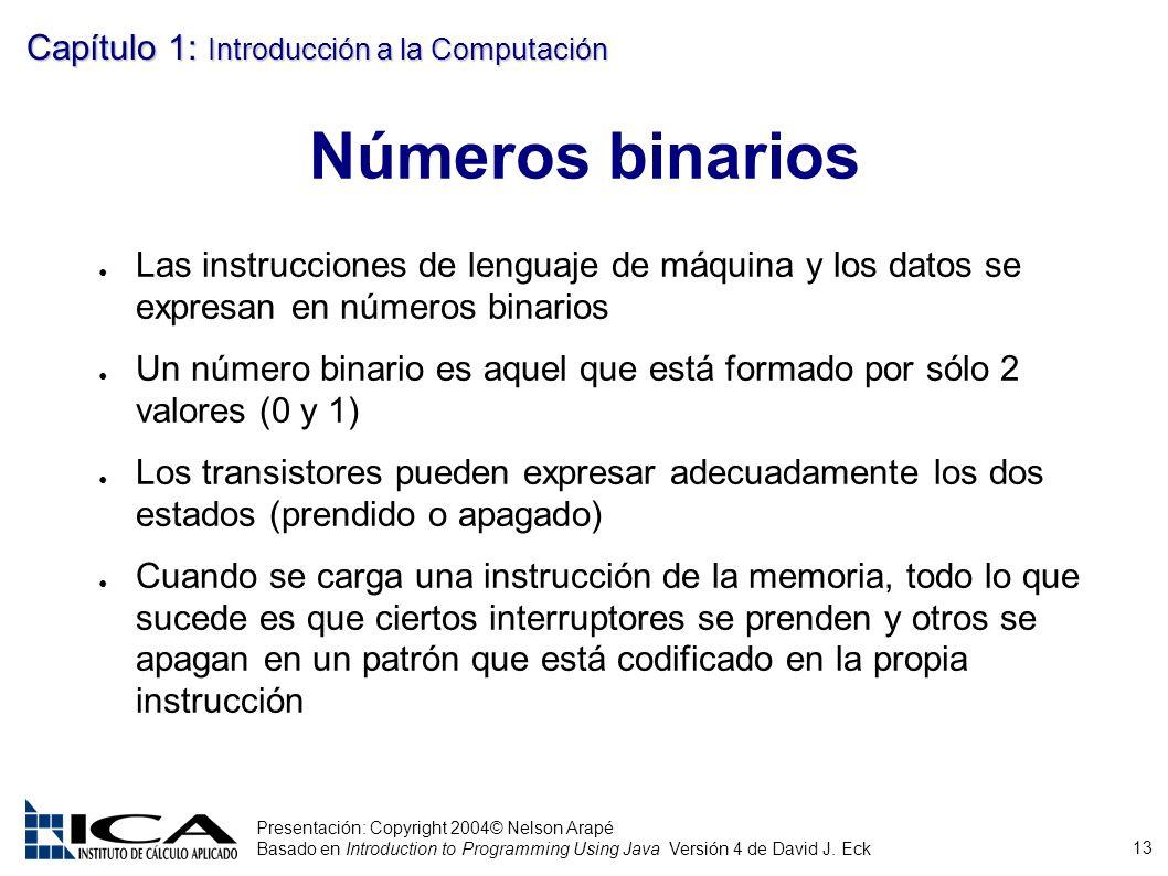 13 Presentación: Copyright 2004© Nelson Arapé Basado en Introduction to Programming Using Java Versión 4 de David J. Eck Capítulo 1: Introducción a la