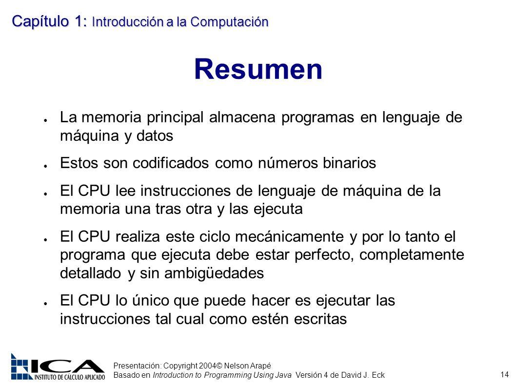 14 Presentación: Copyright 2004© Nelson Arapé Basado en Introduction to Programming Using Java Versión 4 de David J. Eck Capítulo 1: Introducción a la