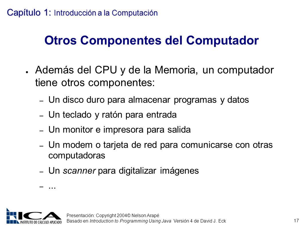 17 Presentación: Copyright 2004© Nelson Arapé Basado en Introduction to Programming Using Java Versión 4 de David J. Eck Capítulo 1: Introducción a la