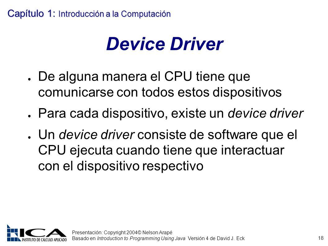 18 Presentación: Copyright 2004© Nelson Arapé Basado en Introduction to Programming Using Java Versión 4 de David J. Eck Capítulo 1: Introducción a la