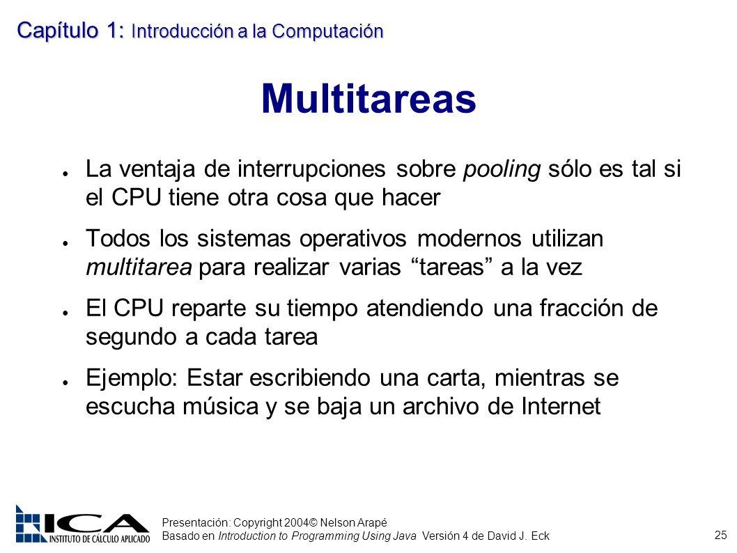 25 Presentación: Copyright 2004© Nelson Arapé Basado en Introduction to Programming Using Java Versión 4 de David J. Eck Capítulo 1: Introducción a la