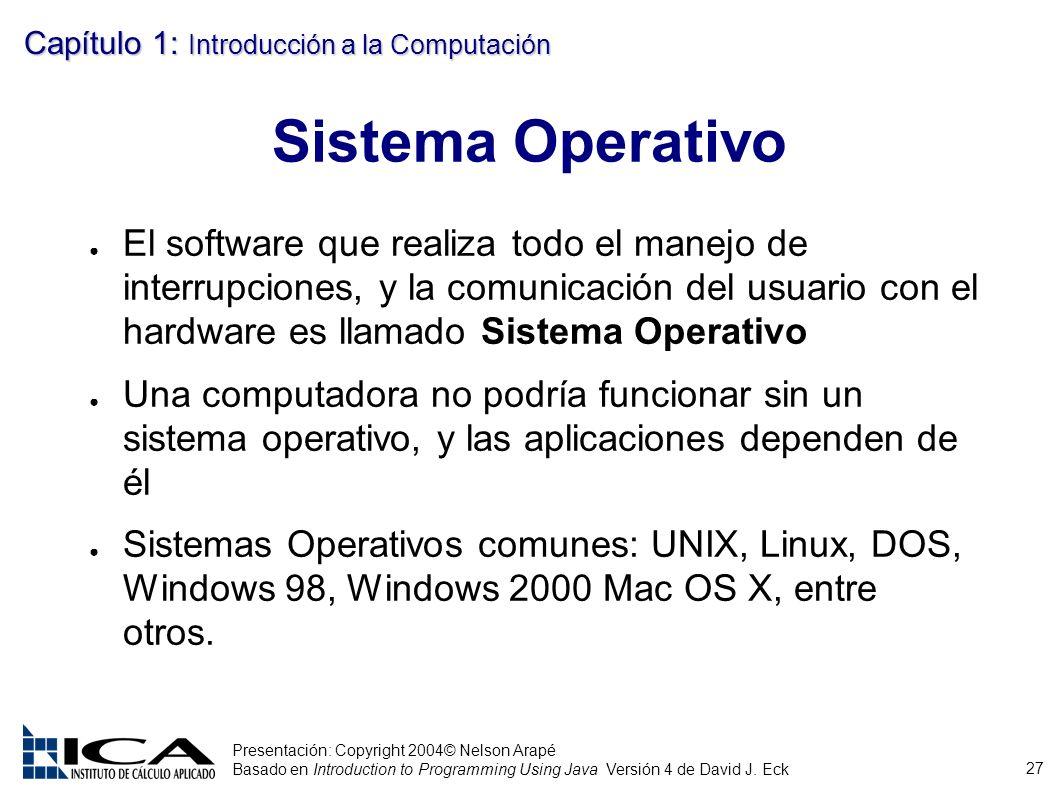 27 Presentación: Copyright 2004© Nelson Arapé Basado en Introduction to Programming Using Java Versión 4 de David J. Eck Capítulo 1: Introducción a la