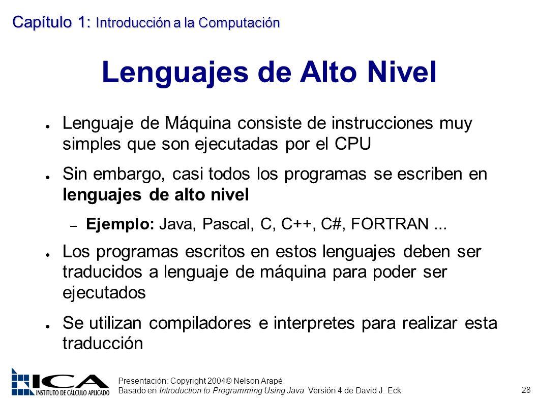 28 Presentación: Copyright 2004© Nelson Arapé Basado en Introduction to Programming Using Java Versión 4 de David J. Eck Capítulo 1: Introducción a la