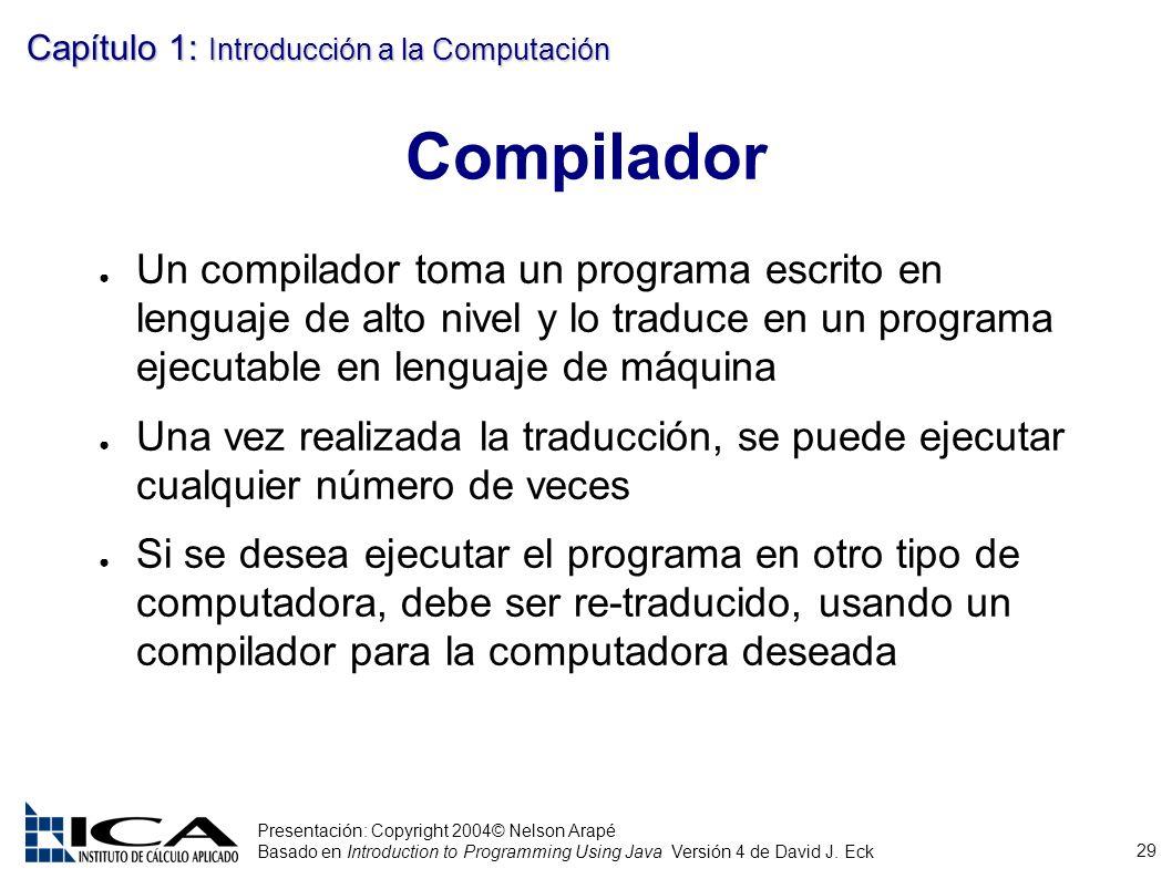 29 Presentación: Copyright 2004© Nelson Arapé Basado en Introduction to Programming Using Java Versión 4 de David J. Eck Capítulo 1: Introducción a la