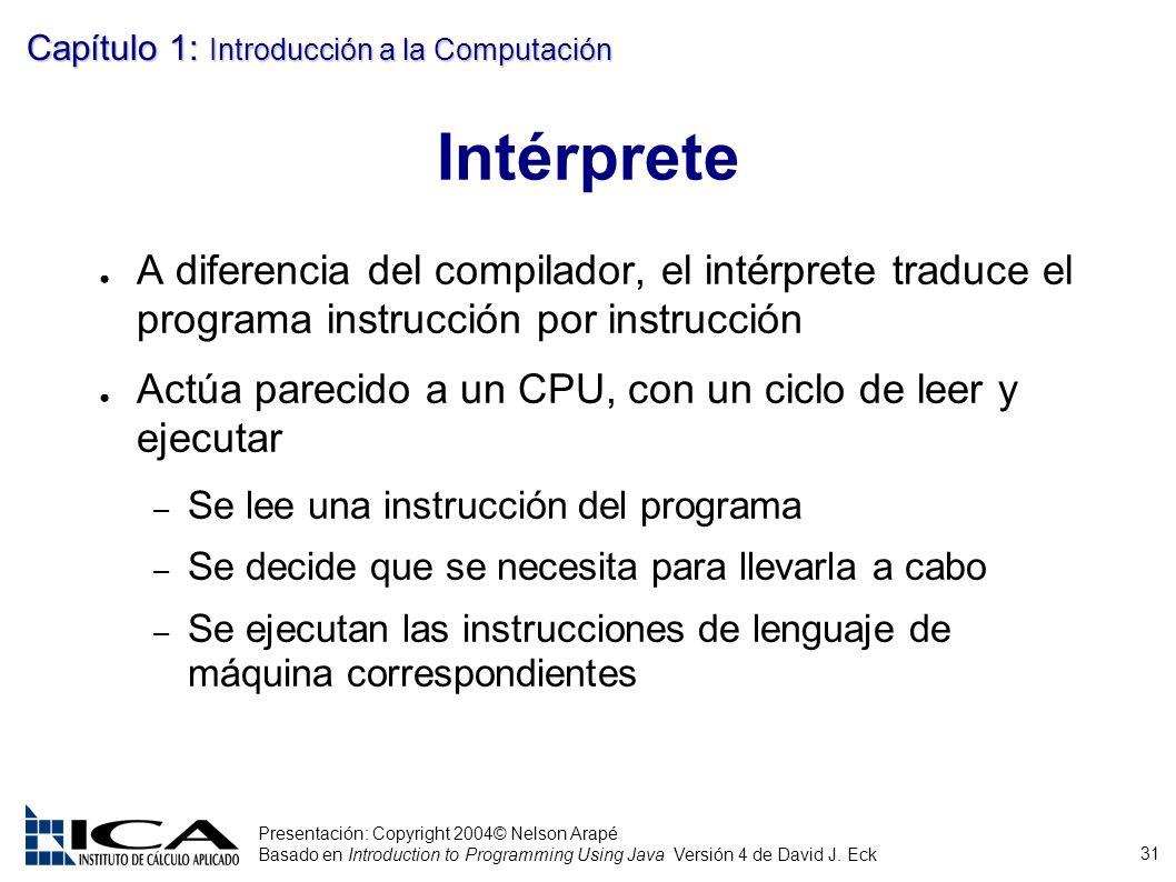 31 Presentación: Copyright 2004© Nelson Arapé Basado en Introduction to Programming Using Java Versión 4 de David J. Eck Capítulo 1: Introducción a la