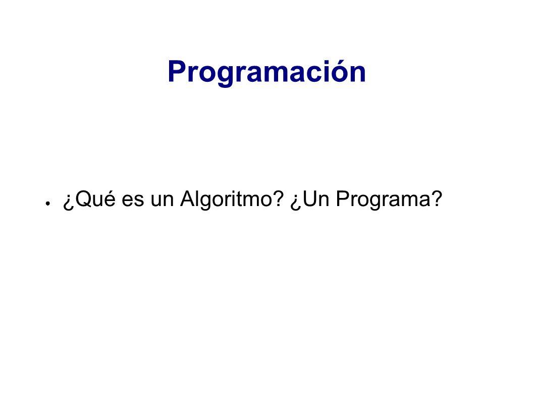 Programación ¿Qué es un Algoritmo? ¿Un Programa?