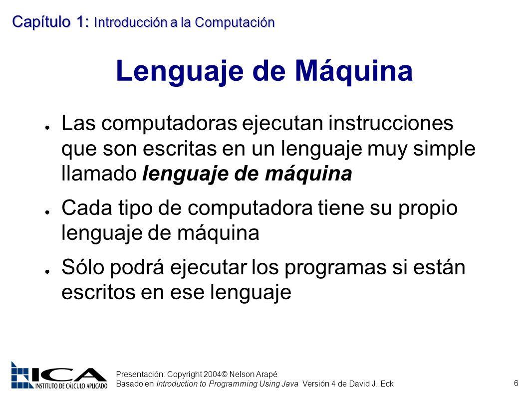 6 Presentación: Copyright 2004© Nelson Arapé Basado en Introduction to Programming Using Java Versión 4 de David J. Eck Capítulo 1: Introducción a la