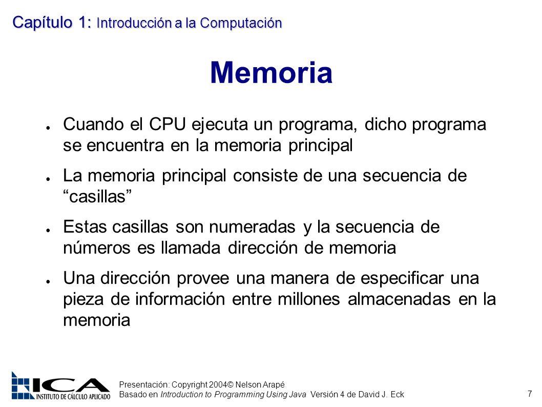 7 Presentación: Copyright 2004© Nelson Arapé Basado en Introduction to Programming Using Java Versión 4 de David J. Eck Capítulo 1: Introducción a la
