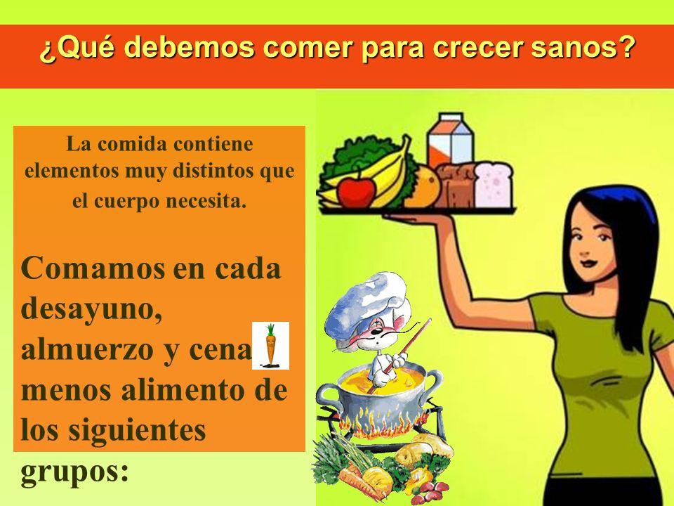 ¿Qué debemos comer para crecer sanos? La comida contiene elementos muy distintos que el cuerpo necesita. Comamos en cada desayuno, almuerzo y cena al