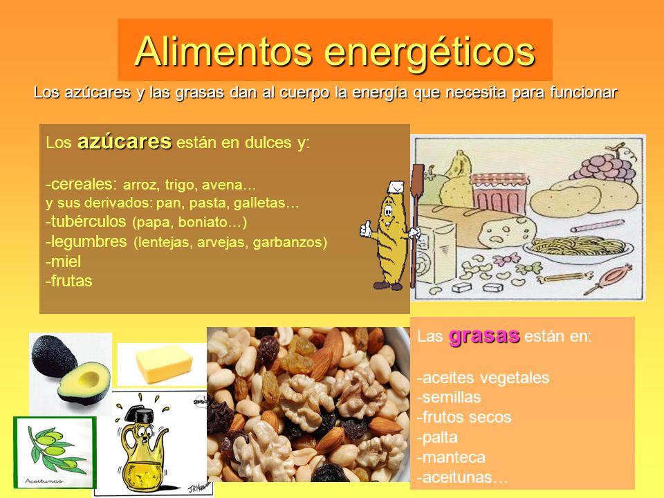 Alimentos energéticos Los azúcares y las grasas dan al cuerpo la energía que necesita para funcionar azúcares Los azúcares están en dulces y: -cereale