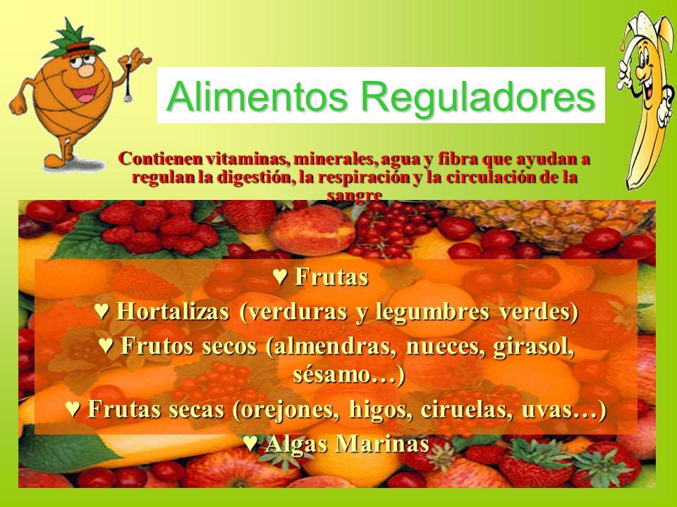 Frutas Frutas Hortalizas (verduras y legumbres verdes) Hortalizas (verduras y legumbres verdes) Frutos secos (almendras, nueces, girasol, sésamo…) Fru