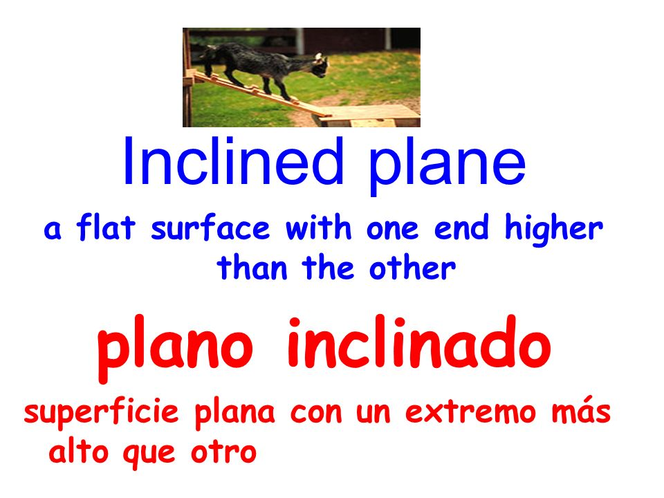 Inclined plane a flat surface with one end higher than the other plano inclinado superficie plana con un extremo más alto que otro