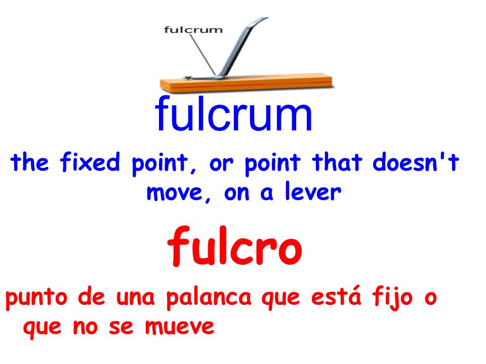 fulcrum the fixed point, or point that doesn t move, on a lever fulcro punto de una palanca que está fijo o que no se mueve