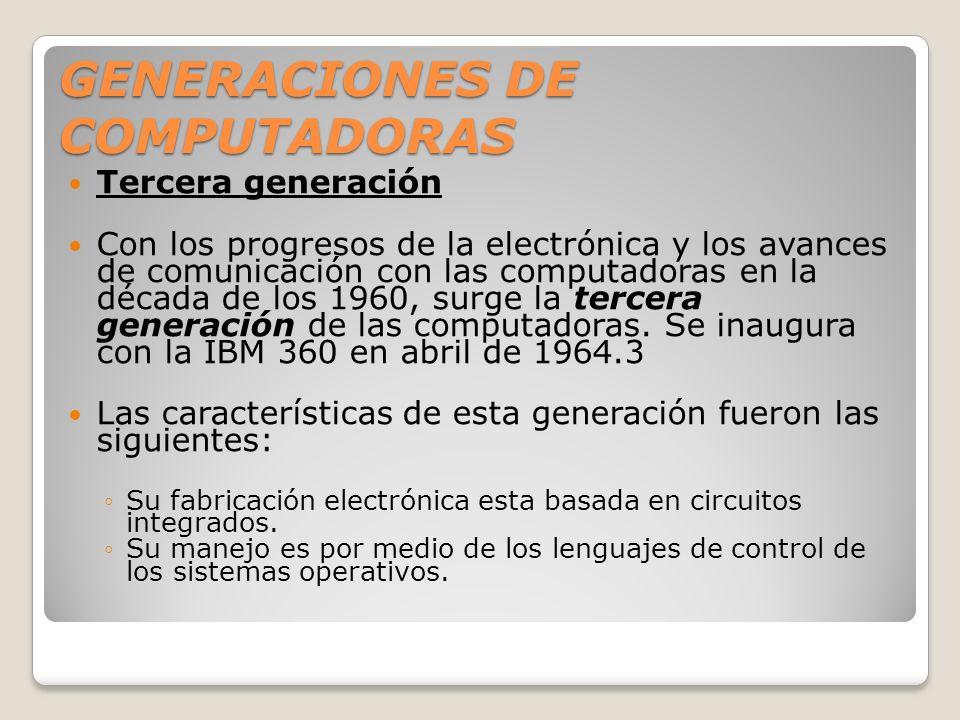 GENERACIONES DE COMPUTADORAS Tercera generación Con los progresos de la electrónica y los avances de comunicación con las computadoras en la década de