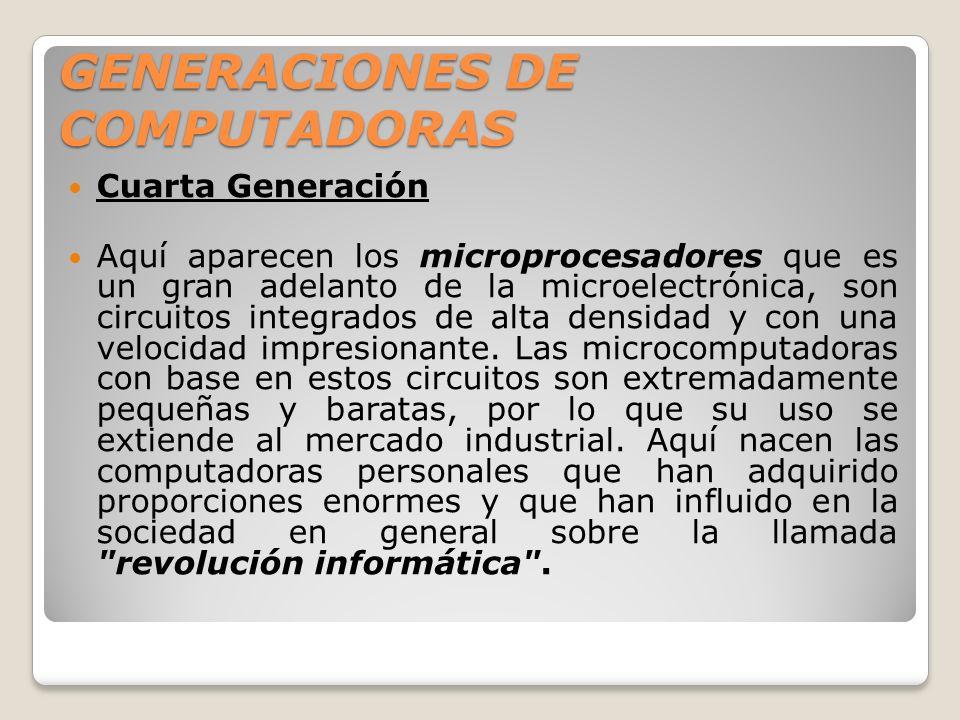 GENERACIONES DE COMPUTADORAS Cuarta Generación Aquí aparecen los microprocesadores que es un gran adelanto de la microelectrónica, son circuitos integ