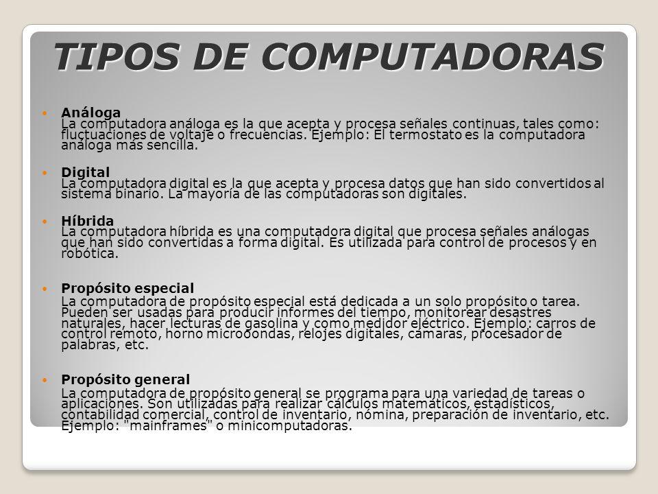 TIPOS DE COMPUTADORAS Análoga La computadora análoga es la que acepta y procesa señales continuas, tales como: fluctuaciones de voltaje o frecuencias.