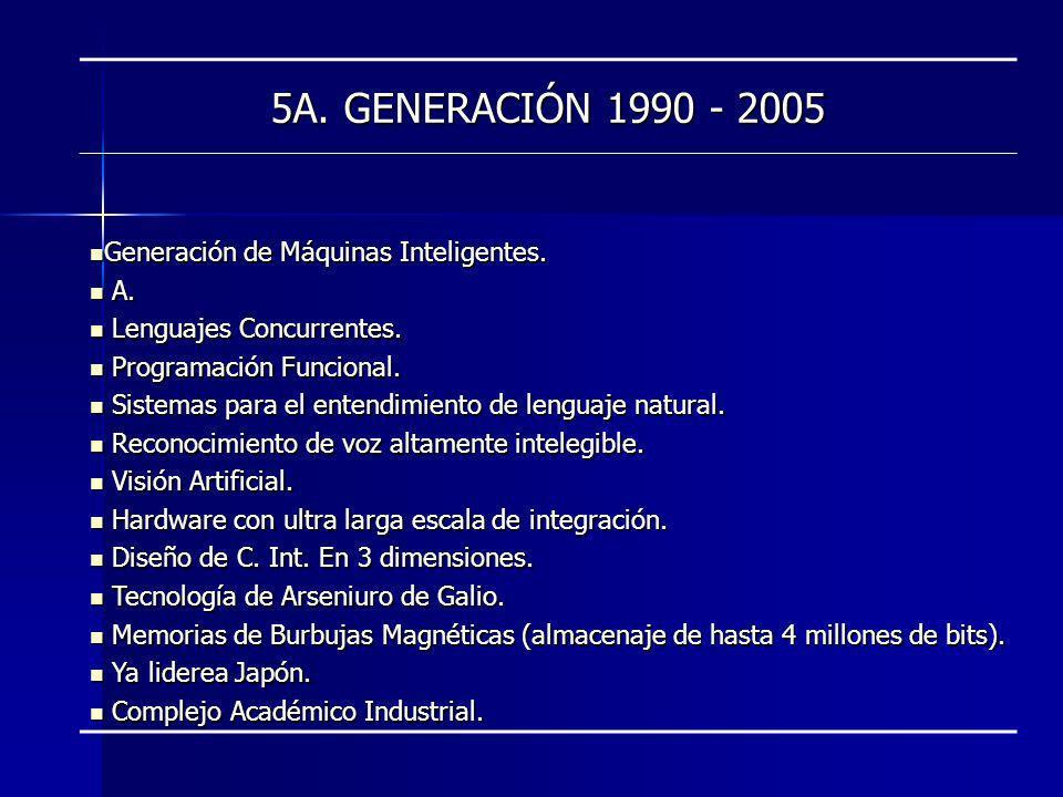 5A. GENERACIÓN 1990 - 2005 Generación de Máquinas Inteligentes. Generación de Máquinas Inteligentes. A. A. Lenguajes Concurrentes. Lenguajes Concurren