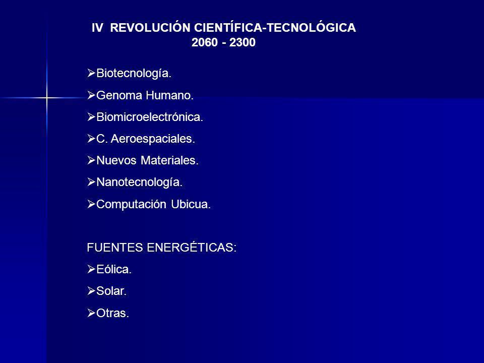 IV REVOLUCIÓN CIENTÍFICA-TECNOLÓGICA 2060 - 2300 Biotecnología. Genoma Humano. Biomicroelectrónica. C. Aeroespaciales. Nuevos Materiales. Nanotecnolog