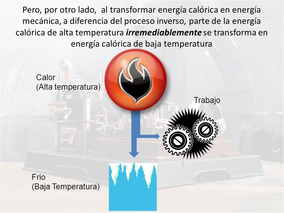 Pero, por otro lado, al transformar energía calórica en energía mecánica, a diferencia del proceso inverso, parte de la energía calórica de alta tempe