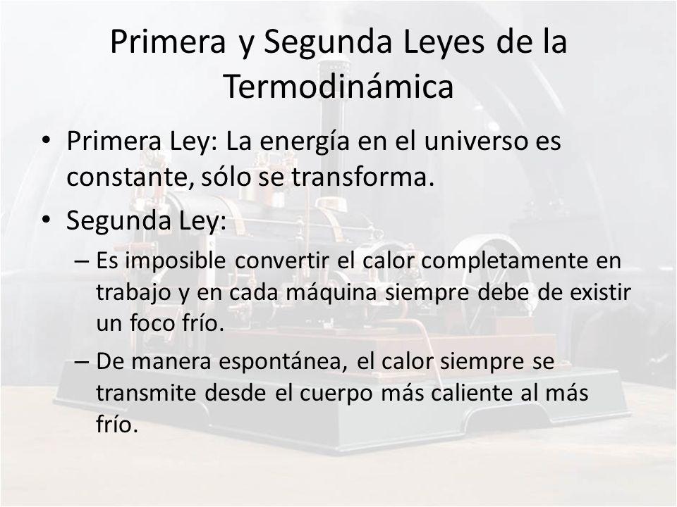 Primera y Segunda Leyes de la Termodinámica Primera Ley: La energía en el universo es constante, sólo se transforma. Segunda Ley: – Es imposible conve