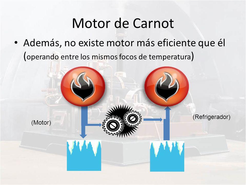 Motor de Carnot Además, no existe motor más eficiente que él ( operando entre los mismos focos de temperatura ) (Motor) (Refrigerador)