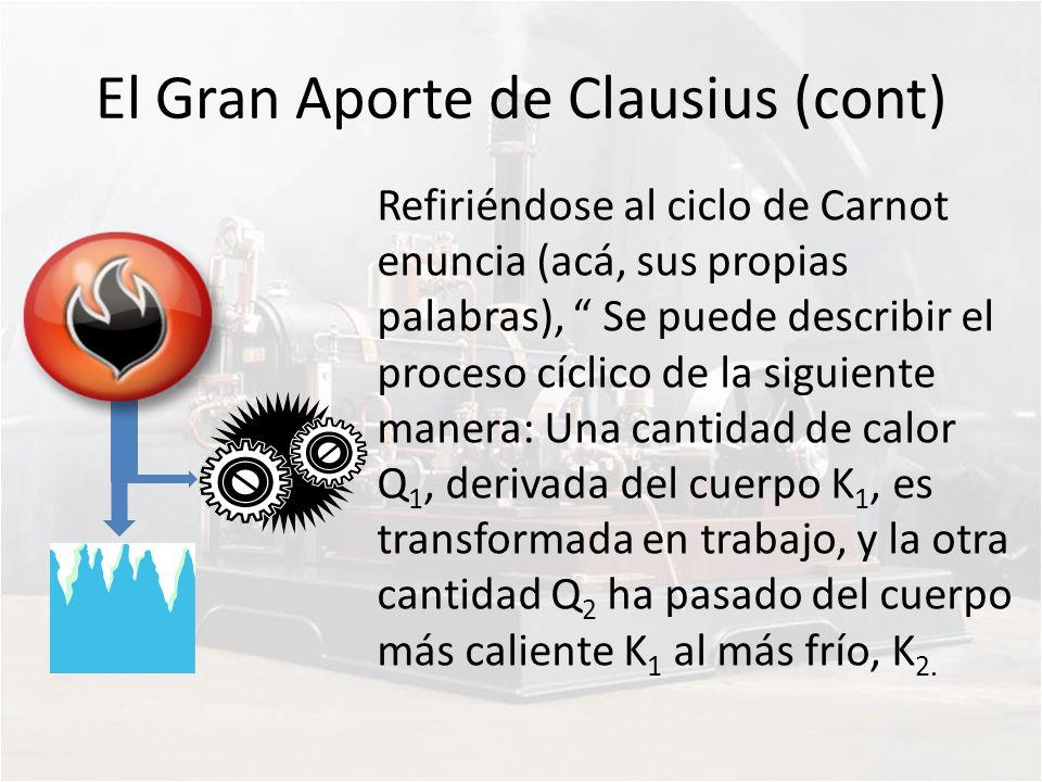 El Gran Aporte de Clausius (cont) Refiriéndose al ciclo de Carnot enuncia (acá, sus propias palabras), Se puede describir el proceso cíclico de la sig