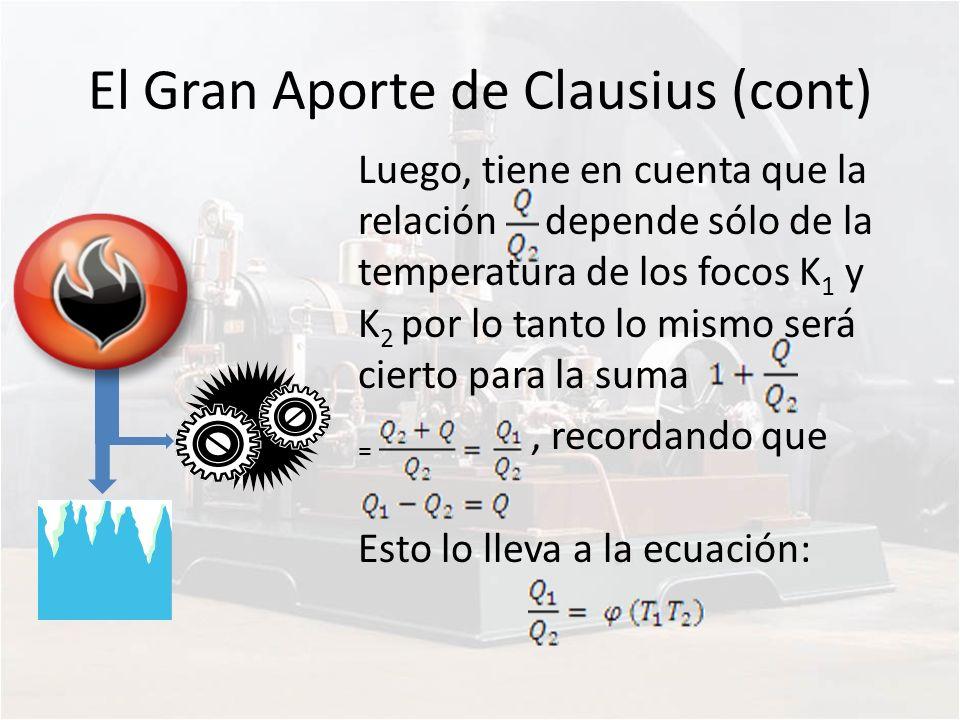 El Gran Aporte de Clausius (cont) Luego, tiene en cuenta que la relación depende sólo de la temperatura de los focos K 1 y K 2 por lo tanto lo mismo s